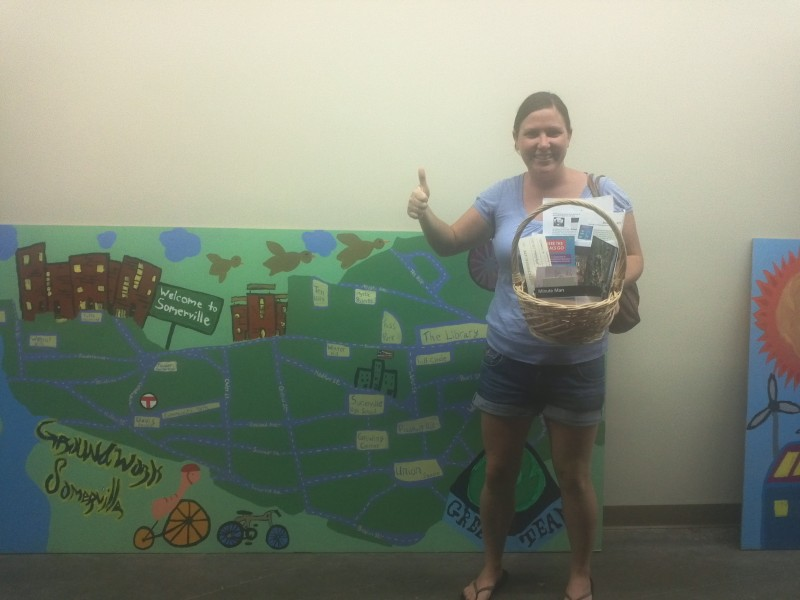 Emily- winner of our $5 raffle.  Gift box included; Gift certificate to Mudflat, SLF cupon book, Somerville Theater,